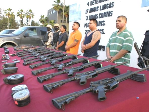 High-powered assault rifles confiscated by Mexican soldiers