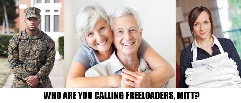 Which Americans are you calling irresponsible freeloaders, Mitt Romney?
